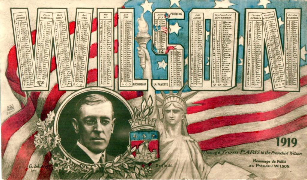 Carte postale de 1919 - Hommage de Paris au Président Wilson.