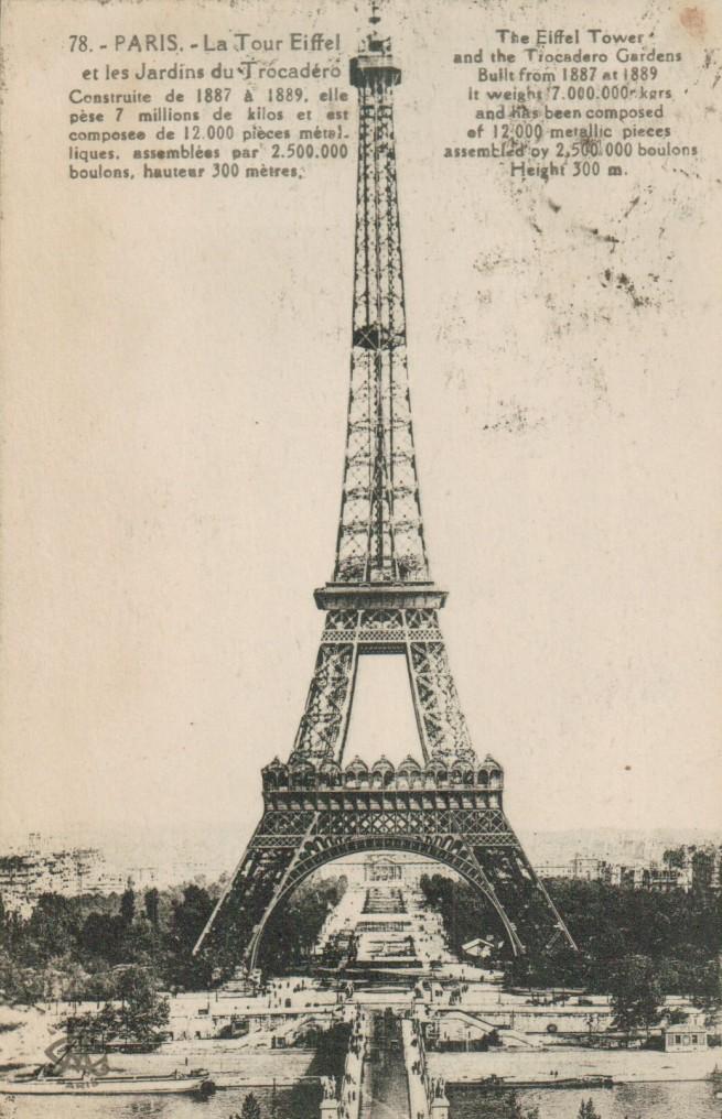 Carte postale de la tour Eiffel – quelques chiffres.