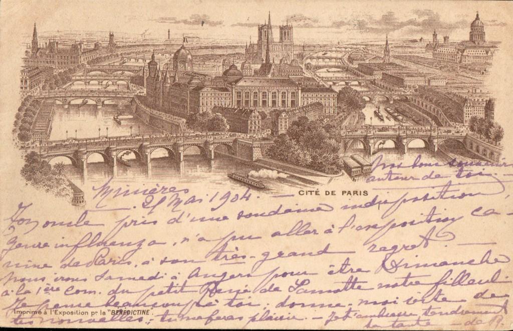 """Cité de Paris - Carte postale Imprimé a l'Exposition par """"Bénédictine""""."""