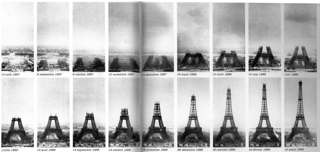Les étapes de la construction de la tour Eiffel.