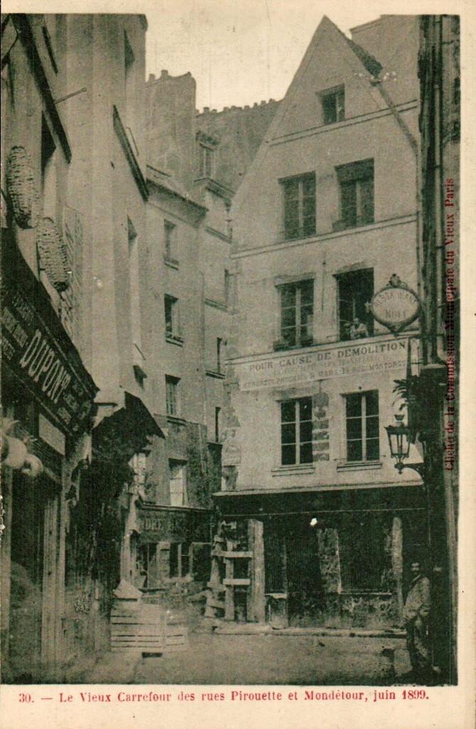 Carrefour de la rue Pirouette et Modétour, cliché de la commission municipale du vieux Paris.