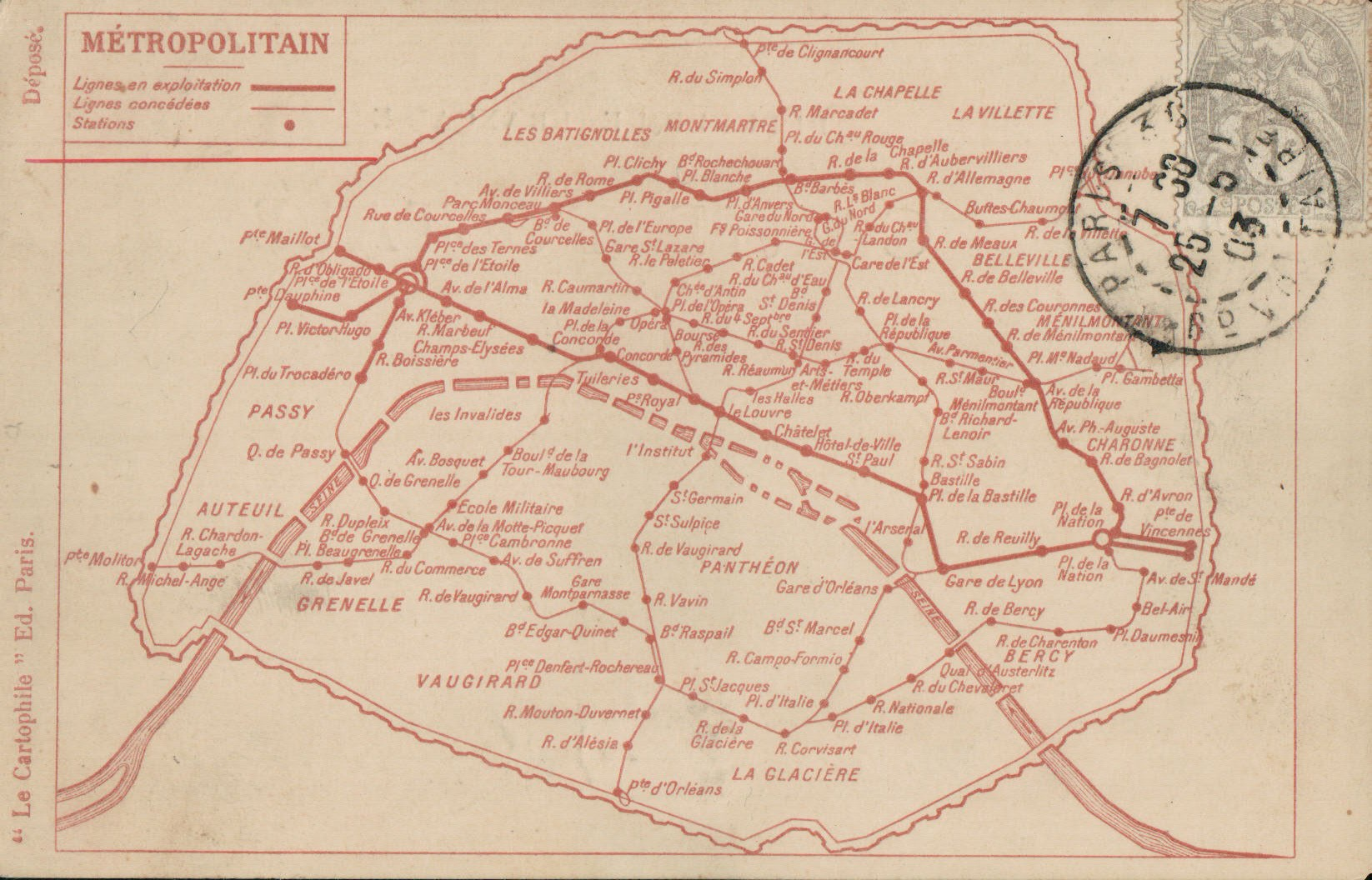 Le plan du métro parisien en 1903
