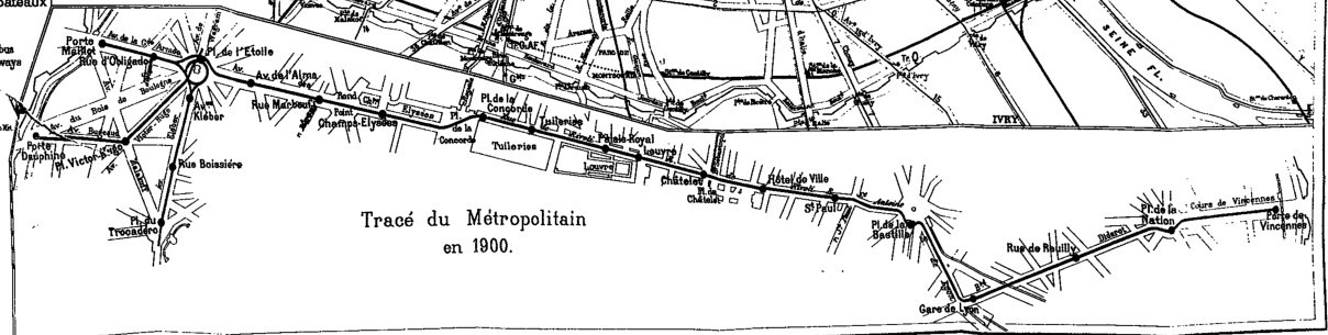 Tracé du métropolitain en 1900.