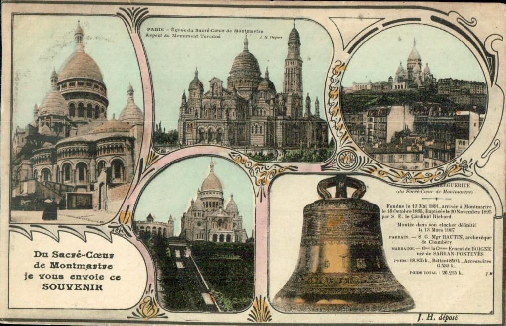Carte postale multivues de la basilique du Sacré-coeur.