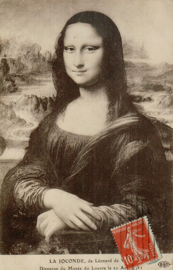 Le vol de la Joconde - Carte postale de la Joconde de Léonard de Vinci.