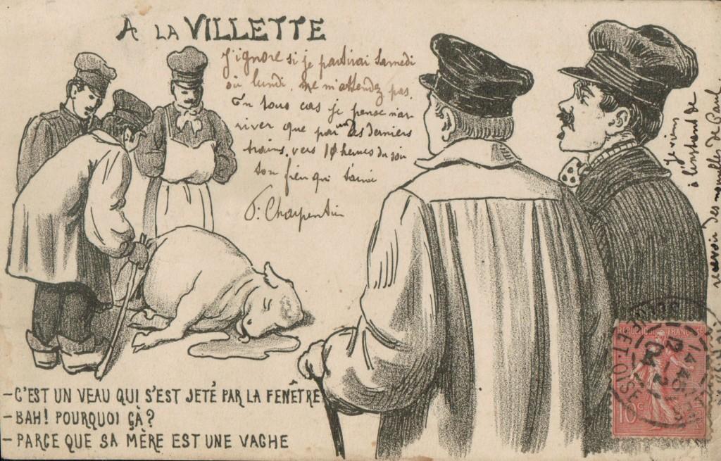 A la Villette - Carte postale humoristique.