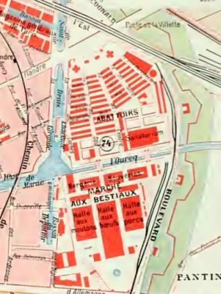Plan des abattoirs de la Villette en 1900.