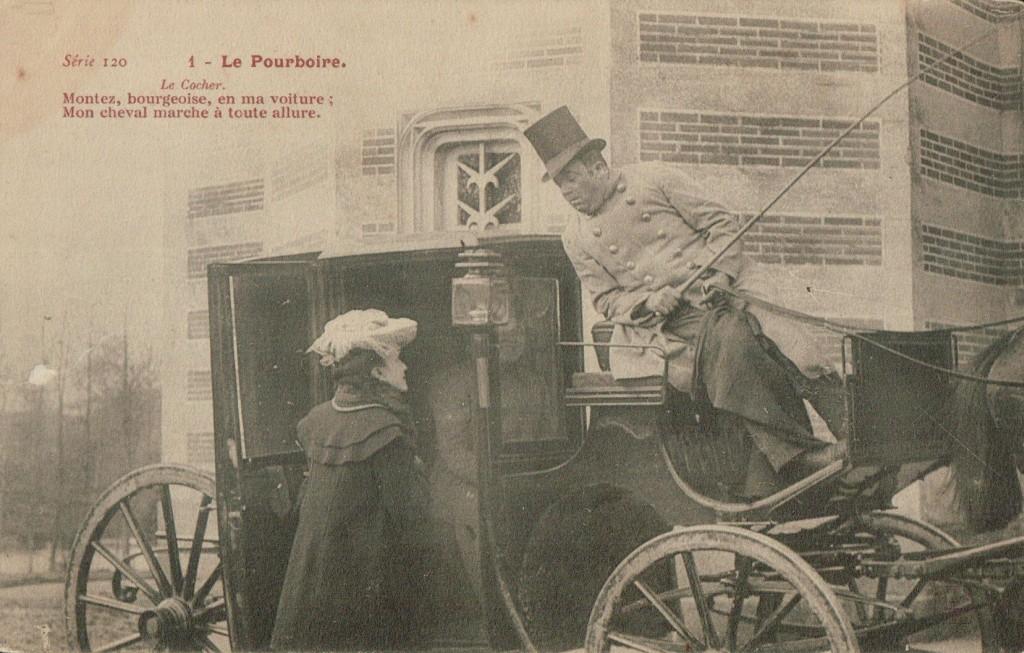 Carte postale d un fiacre - Le cocher ; le pourboire.