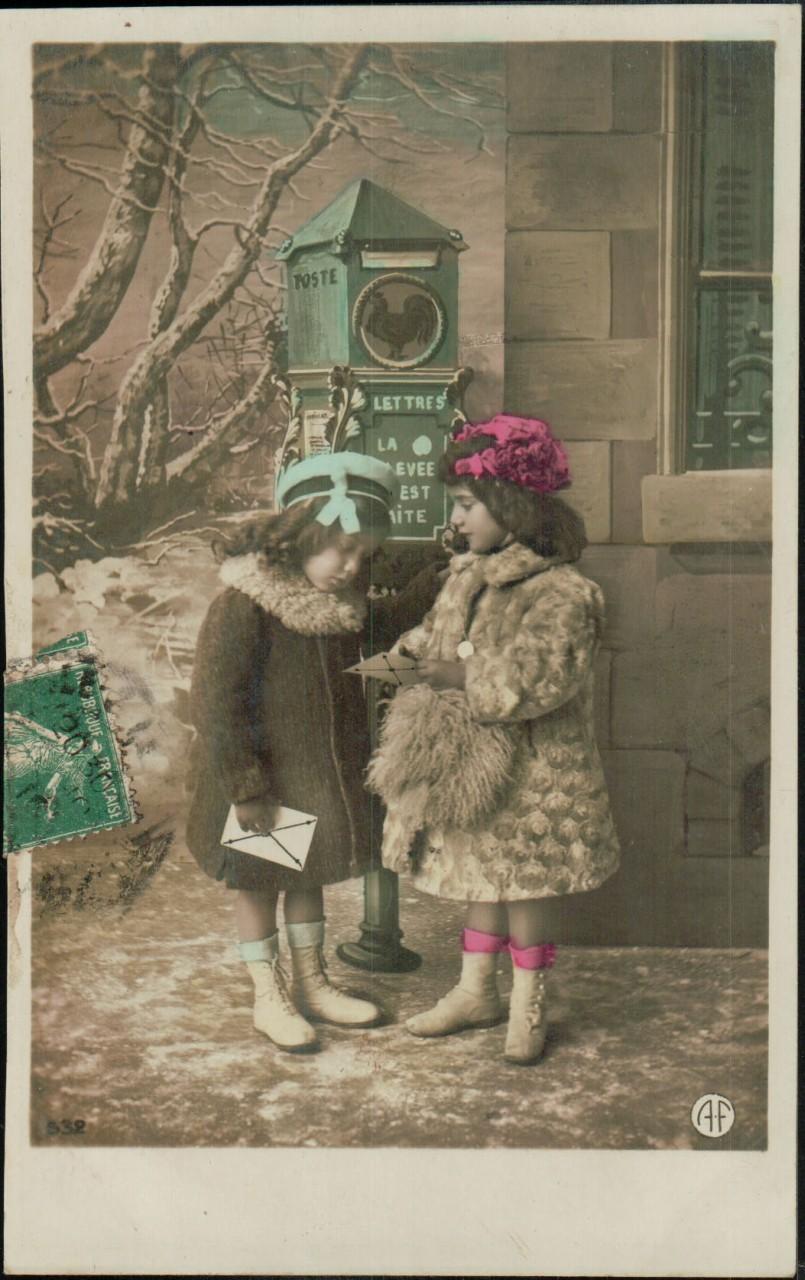 Simyanettes: Boîte aux lettres, coq gaulois, 1908.