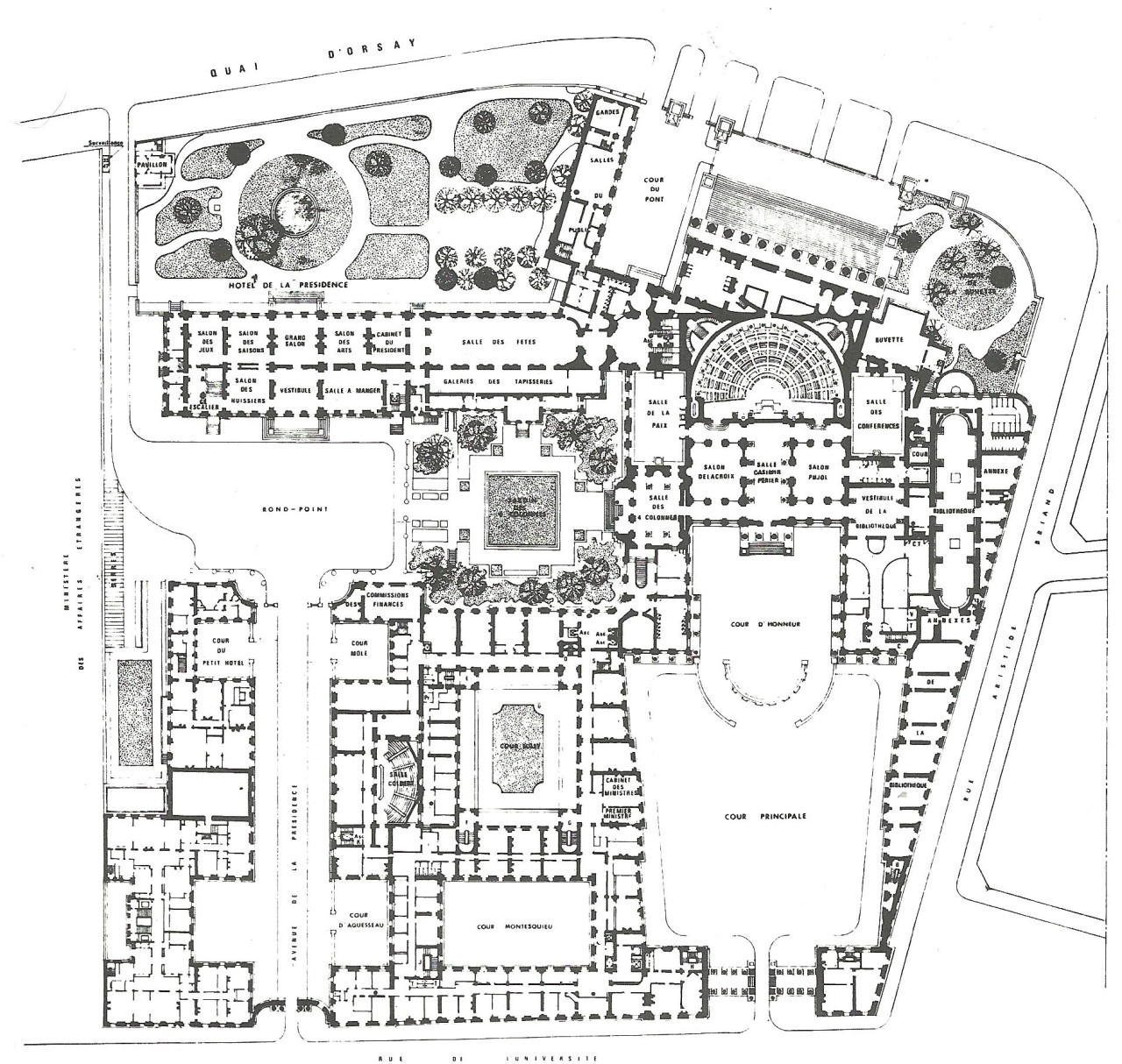 Palais Bourbon - Plan de l'étage principal.