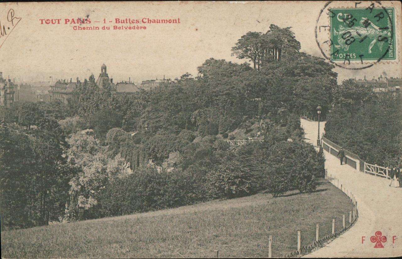 Tout Paris - Buttes Chaumont, le chemin du Belvédère.