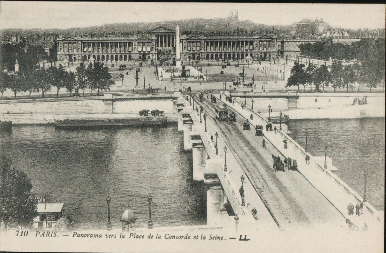 Paris sous la neige - pont et place de la concorde.